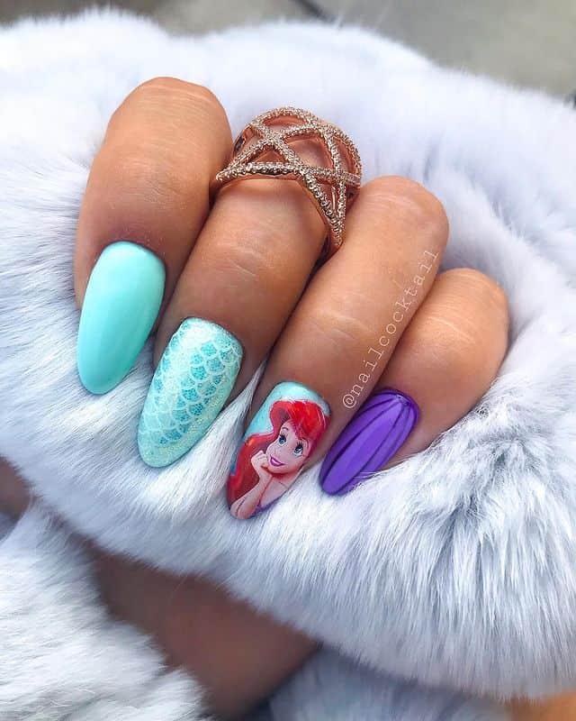 Disney Nails, disney nail designs, Disney Nails simple, disney nail art, Disney Nails acrylic, disney nail ideas, Disney Nails easy, little mermaid nails, Ariel nails