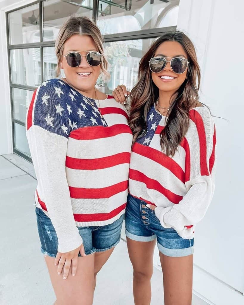 4th of July, 4th of July outfits for women, 4th of July outfits for women party, 4th of July outfits for teenagers, 4th of July outfits for women summer, 4th of July fashion, 4th of July looks, patriotic outfit, patriotic outfits for women, American flag sweater