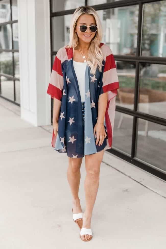 4th of July, 4th of July outfits for women, 4th of July outfits for women party, 4th of July outfits for teenagers, 4th of July outfits for women summer, 4th of July fashion, 4th of July looks, patriotic outfit, patriotic outfits for women, summer graphic tee, graphic tee outfit, patriotic kimono, kimono outfit