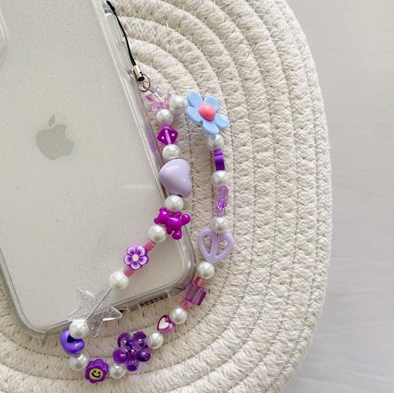 phone charm, phone charm DIY, phone charm aesthetic, phone charms beads, phone charm strap, phone charm ideas, 90s phone charm, YTK phone charm, phone chain, purple phone charm