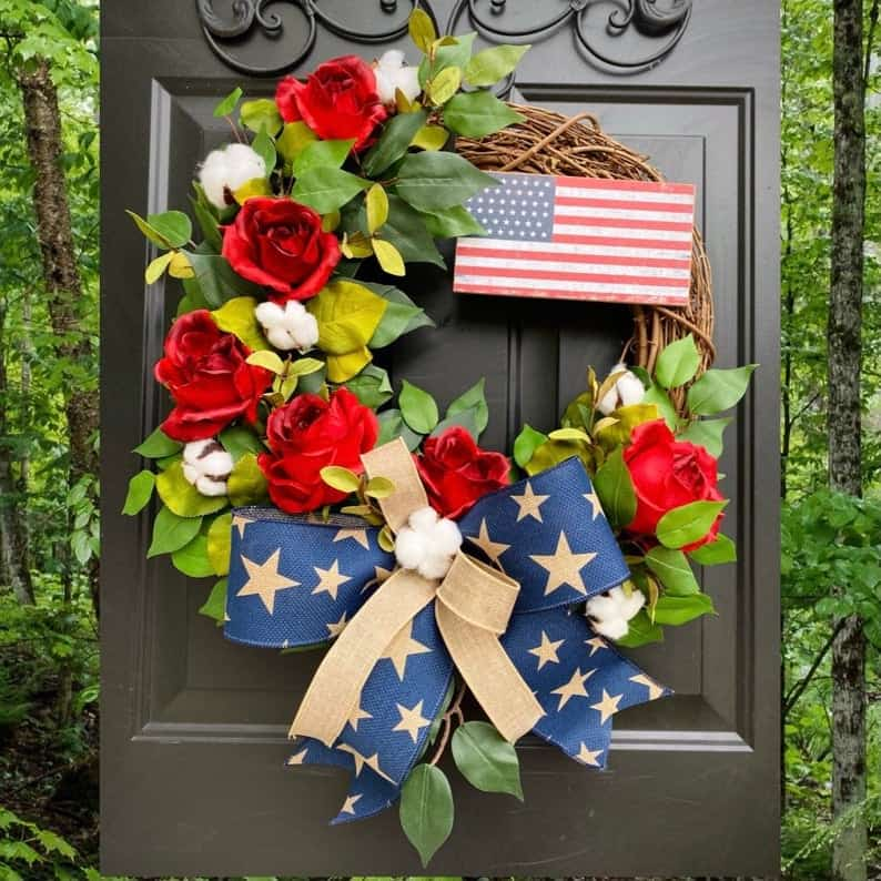 4th of July, 4th of July decorations, 4th of July wreath, 4th of July wreaths for front door, 4th of July wreath DIY, patriotic wreath, patriotic wreath ideas, patriotic wreaths for front door, American flag wreath
