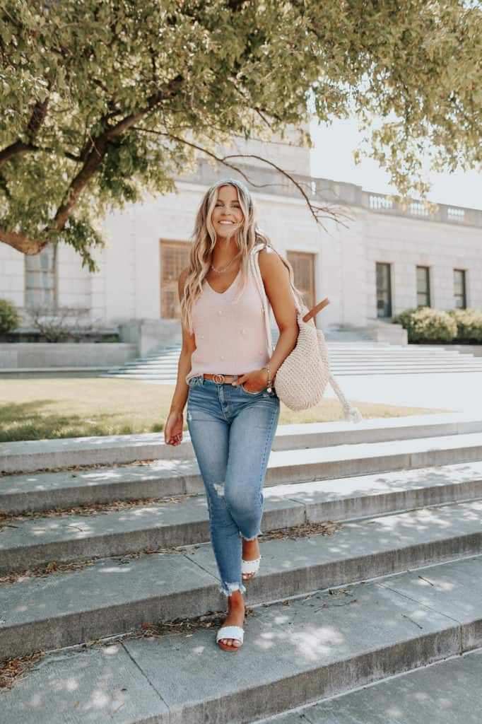 casual summer outfits, casual summer outfits for women, casual summer outfits for teens, summer outfits, summer outfits 2021, summer outfits aesthetic, sweater tank outfit, pink top outfit