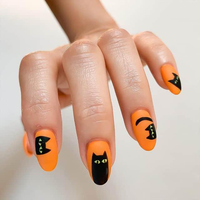 halloween nails, halloween nails acrylic, halloween nails ideas, halloween nails short, halloween nails simple, halloween nails easy, halloween nails 2021, halloween nails acrylic coffin, cat nails, black cat nails, orange nails