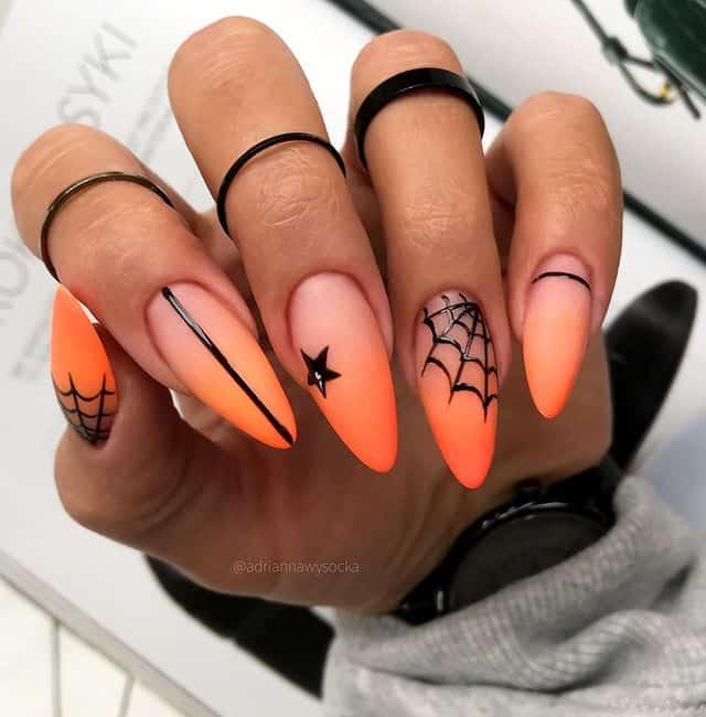 halloween nails, halloween nails acrylic, halloween nails ideas, halloween nails short, halloween nails simple, halloween nails easy, halloween nails 2021, halloween nails acrylic coffin, ombre nails, spider nails, orange nails, orange ombre nails