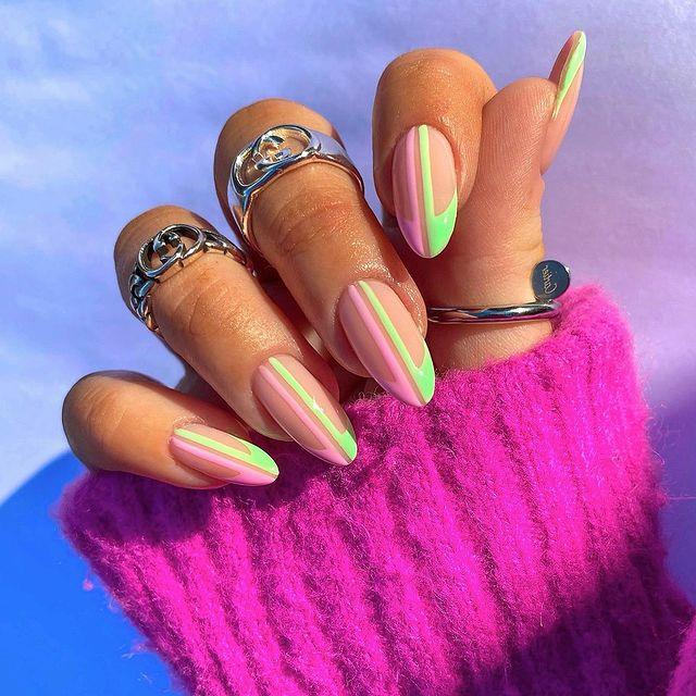 cute nails, cue nails acrylic, cute nails for summer, cute nail designs, cute nail ideas, cute nail art, pink nails, green nails, abstract nails, Line art nails