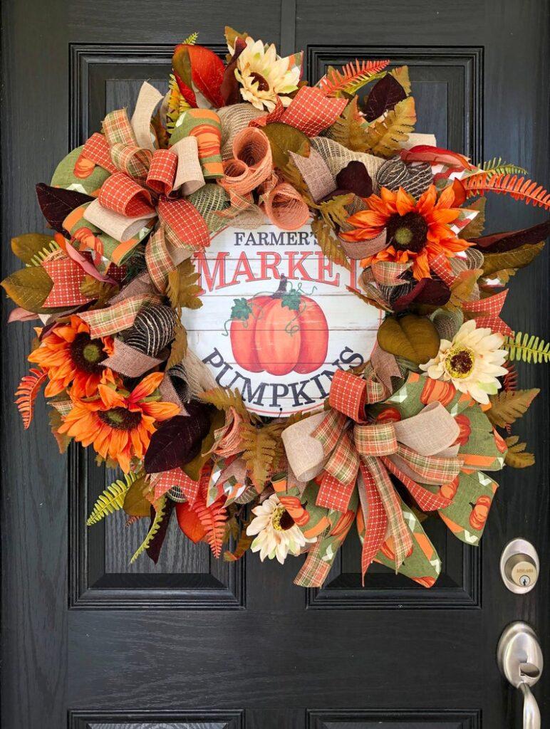 fall wreath, fall wreaths, fall wreaths for front door, fall wreath ideas DIY, fall wreath ideas, autumn wreaths, autumn wreath diy, autumn wreath or front door, farm fresh pumpkin wreath