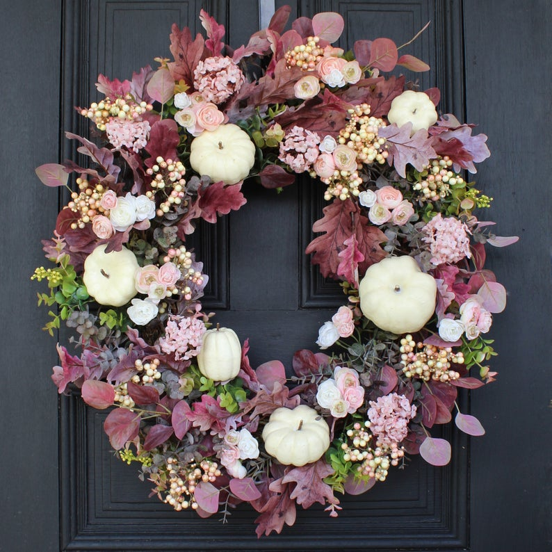 fall wreath, fall wreaths, fall wreaths for front door, fall wreath ideas DIY, fall wreath ideas, autumn wreaths, autumn wreath diy, autumn wreath or front door, purple fall wreath, white pumpkins wreath