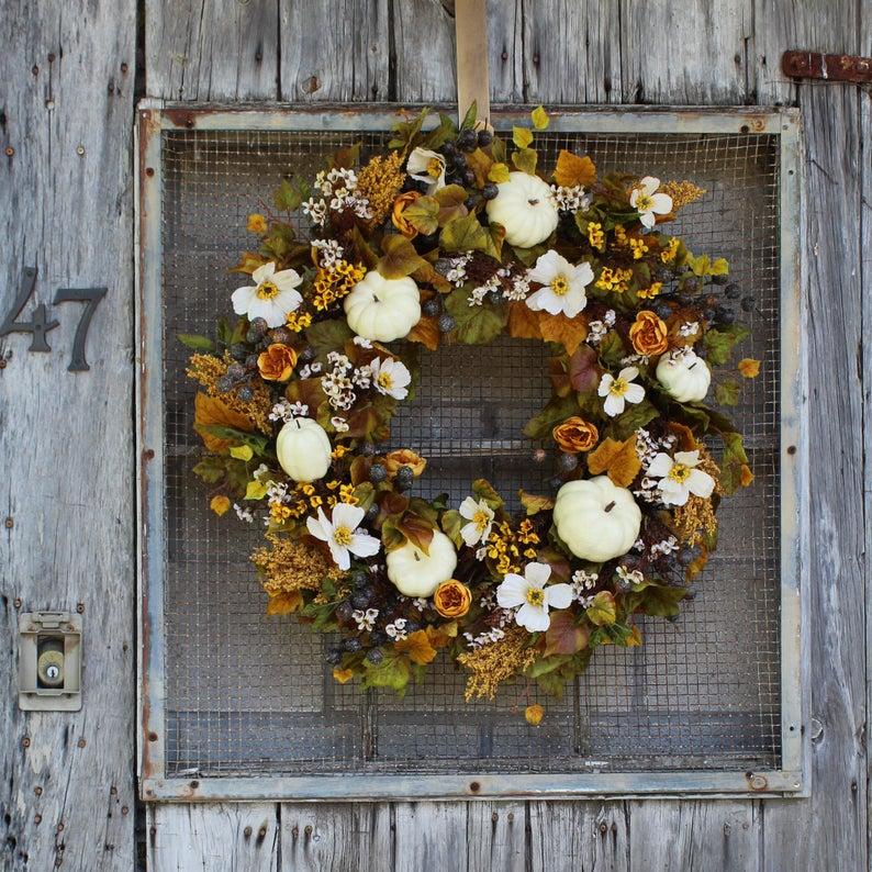 fall wreath, fall wreaths, fall wreaths for front door, fall wreath ideas DIY, fall wreath ideas, autumn wreaths, autumn wreath diy, autumn wreath or front door, white pumpkin wreath