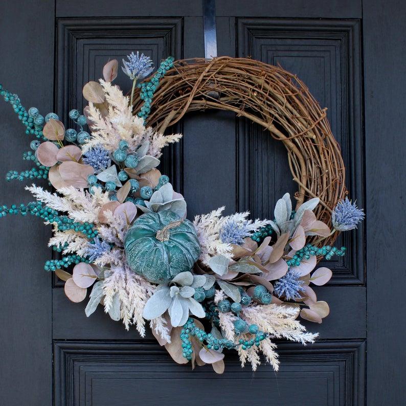 fall wreath, fall wreaths, fall wreaths for front door, fall wreath ideas DIY, fall wreath ideas, autumn wreaths, autumn wreath diy, autumn wreath or front door, blue fall wreath, blue pumpkin wreath