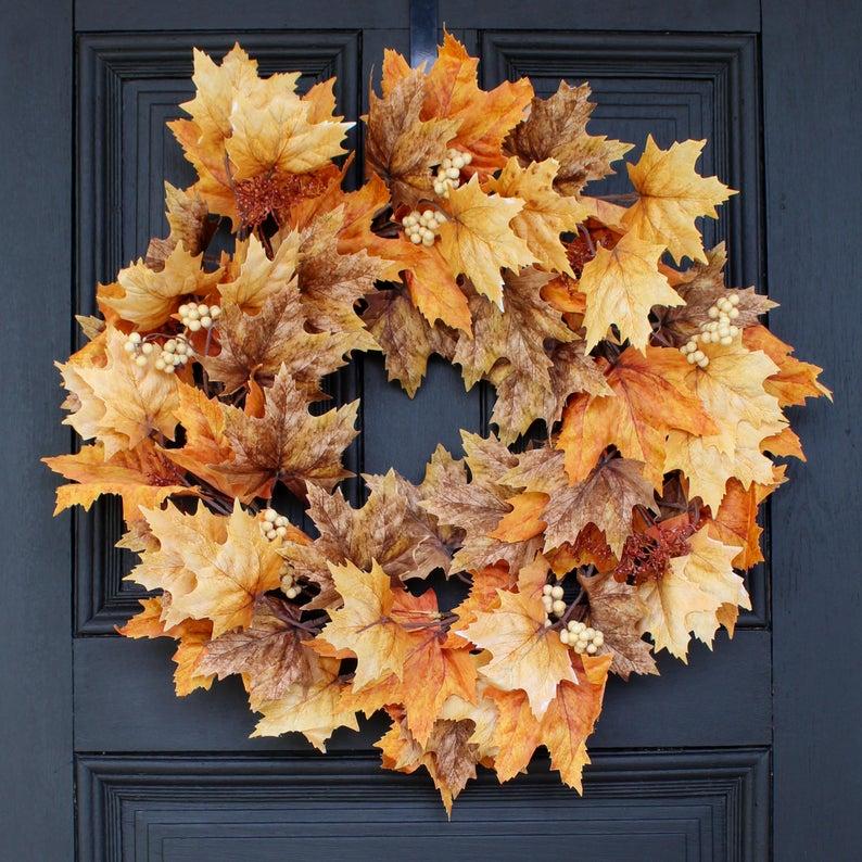 fall wreath, fall wreaths, fall wreaths for front door, fall wreath ideas DIY, fall wreath ideas, autumn wreaths, autumn wreath diy, autumn wreath or front door, fall leaves wreath, fall leaf wreath