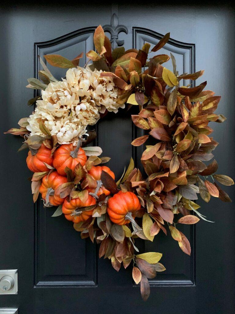 fall wreath, fall wreaths, fall wreaths for front door, fall wreath ideas DIY, fall wreath ideas, autumn wreaths, autumn wreath diy, autumn wreath or front door, fall pumpkin wreath, orange pumpkin wreath