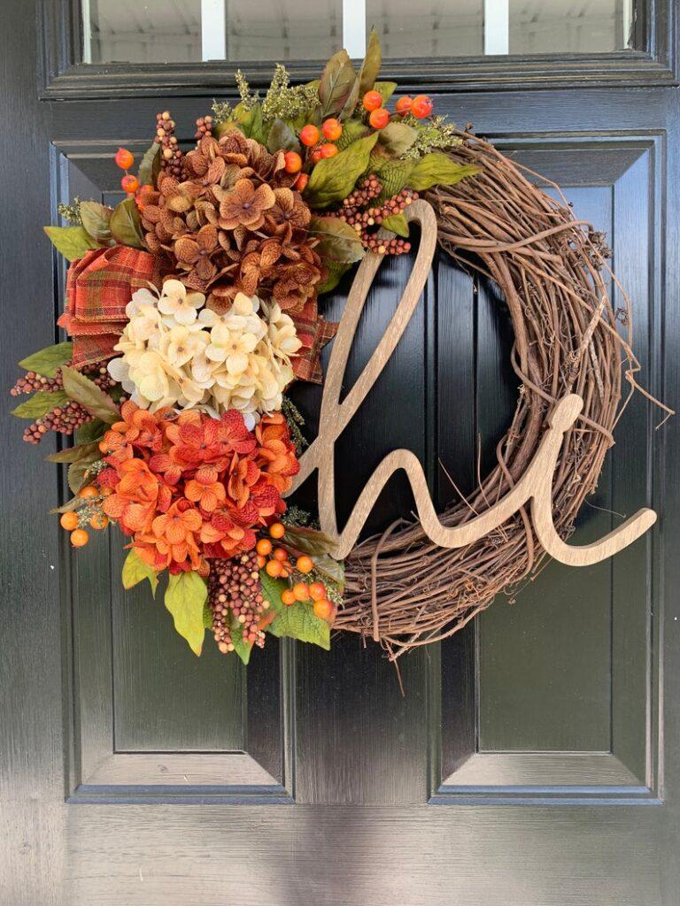 fall wreath, fall wreaths, fall wreaths for front door, fall wreath ideas DIY, fall wreath ideas, autumn wreaths, autumn wreath diy, autumn wreath or front door, hydrangea wreath