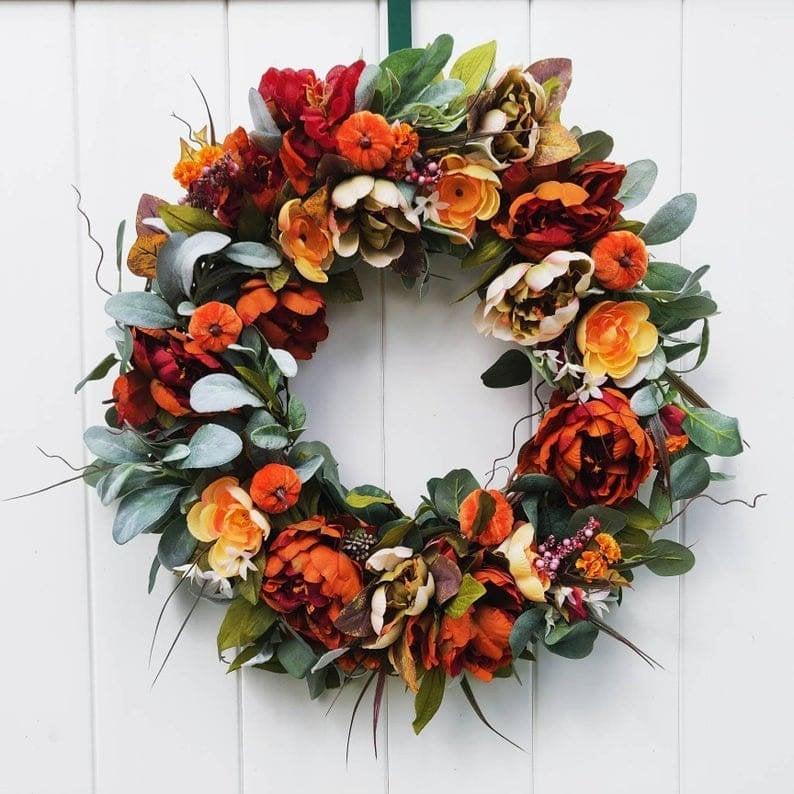 fall wreath, fall wreaths, fall wreaths for front door, fall wreath ideas DIY, fall wreath ideas, autumn wreaths, autumn wreath diy, autumn wreath or front door, orange wreath, mini pumpkin wreath