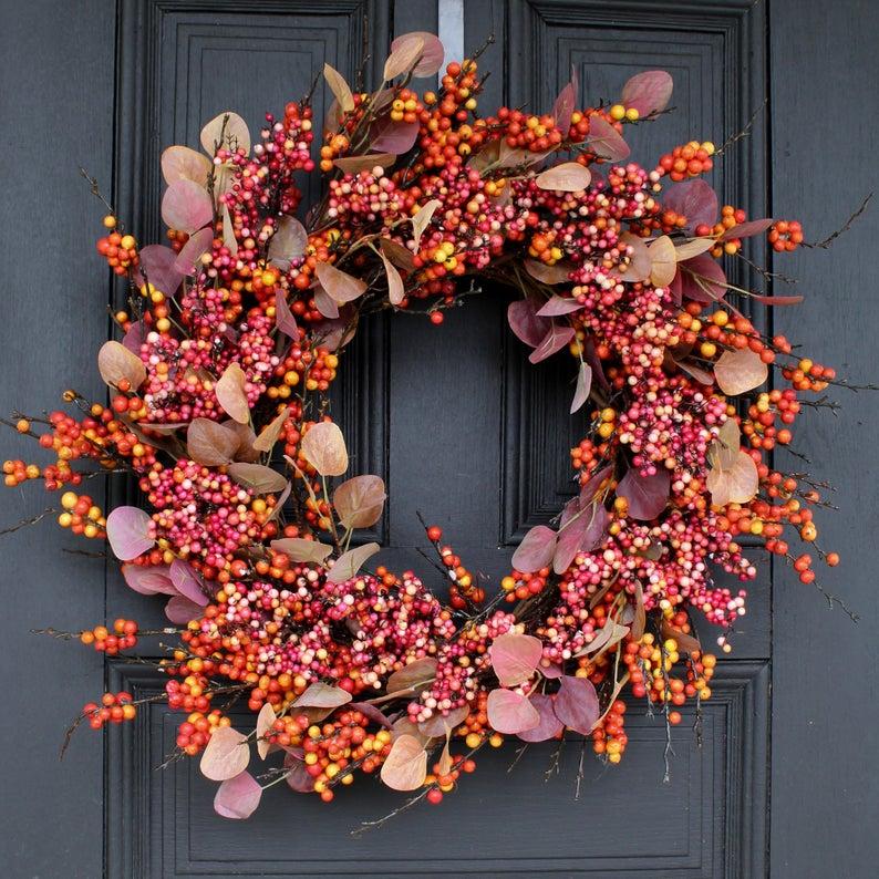 fall wreath, fall wreaths, fall wreaths for front door, fall wreath ideas DIY, fall wreath ideas, autumn wreaths, autumn wreath diy, autumn wreath or front door, fall berry wreath