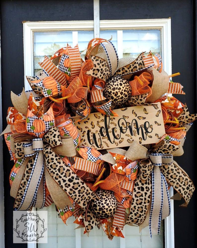 fall wreath, fall wreaths, fall wreaths for front door, fall wreath ideas DIY, fall wreath ideas, autumn wreaths, autumn wreath diy, autumn wreath or front door, welcome wreath, leopard wreath