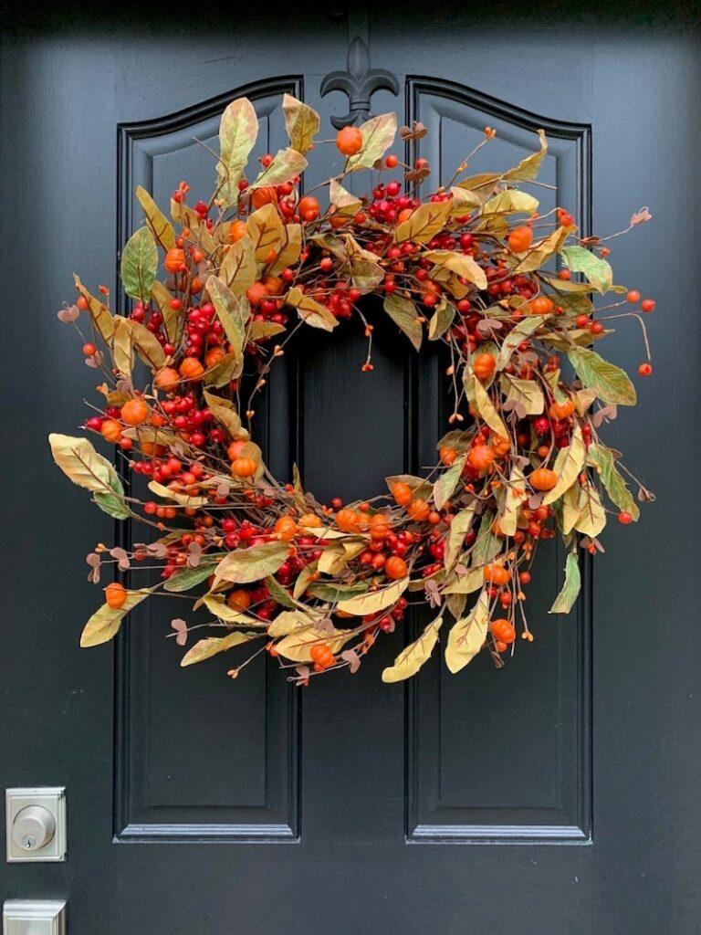 fall wreath, fall wreaths, fall wreaths for front door, fall wreath ideas DIY, fall wreath ideas, autumn wreaths, autumn wreath diy, autumn wreath or front door, fall orange wreath