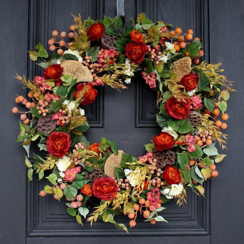 fall wreath, fall wreaths, fall wreaths for front door, fall wreath ideas DIY, fall wreath ideas, autumn wreaths, autumn wreath diy, autumn wreath or front door, fall floral wreath