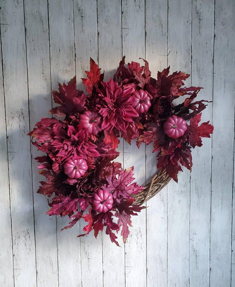 fall wreath, fall wreaths, fall wreaths for front door, fall wreath ideas DIY, fall wreath ideas, autumn wreaths, autumn wreath diy, autumn wreath or front door, burgundy fall wreath, purple fall wreath