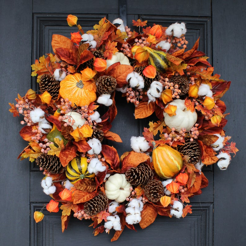 fall wreath, fall wreaths, fall wreaths for front door, fall wreath ideas DIY, fall wreath ideas, autumn wreaths, autumn wreath diy, autumn wreath or front door, cotton tail wreath, pumpkin wreath