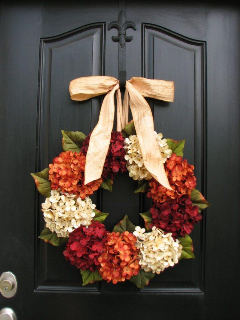 fall wreath, fall wreaths, fall wreaths for front door, fall wreath ideas DIY, fall wreath ideas, autumn wreaths, autumn wreath diy, autumn wreath or front door, fall hydrangea wreath, hydrangea wreath