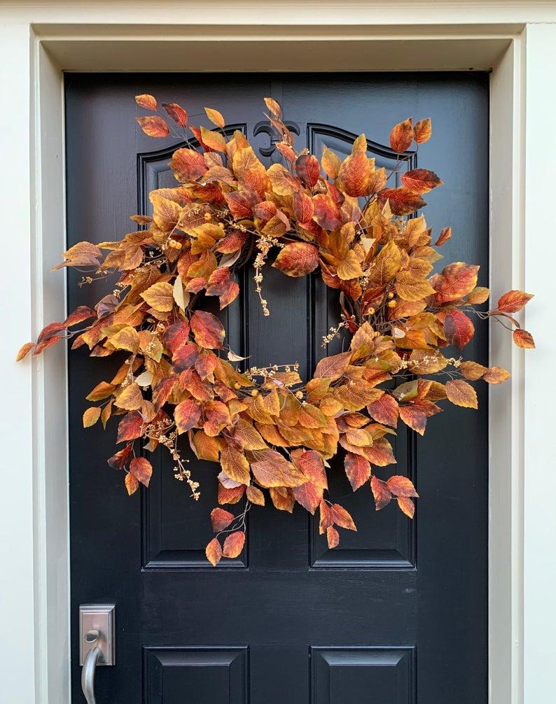 fall wreath, fall wreaths, fall wreaths for front door, fall wreath ideas DIY, fall wreath ideas, autumn wreaths, autumn wreath diy, autumn wreath or front door, fall leaf wreath, autumn leaf wreath