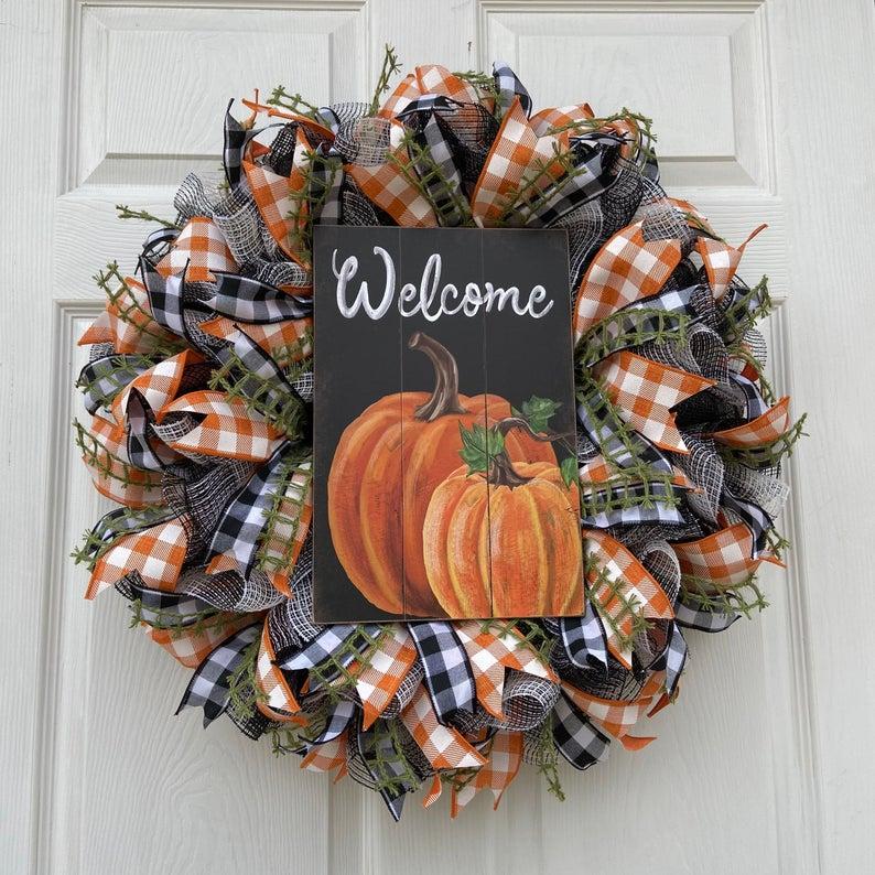 fall wreath, fall wreaths, fall wreaths for front door, fall wreath ideas DIY, fall wreath ideas, autumn wreaths, autumn wreath diy, autumn wreath or front door, welcome wreath, fall ribbon wreath