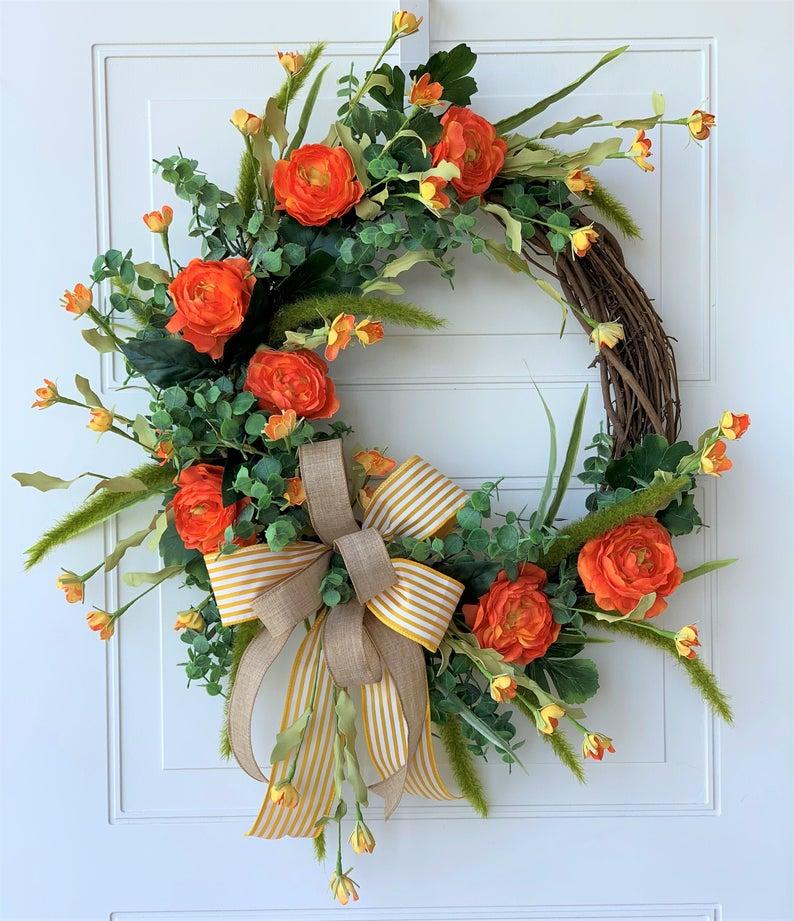fall wreath, fall wreaths, fall wreaths for front door, fall wreath ideas DIY, fall wreath ideas, autumn wreaths, autumn wreath diy, autumn wreath or front door, orange flower wreath