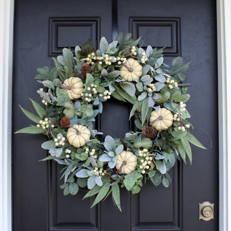 fall wreath, fall wreaths, fall wreaths for front door, fall wreath ideas DIY, fall wreath ideas, autumn wreaths, autumn wreath diy, autumn wreath or front door, white pumpkin wreath, fall lamb ear wreath