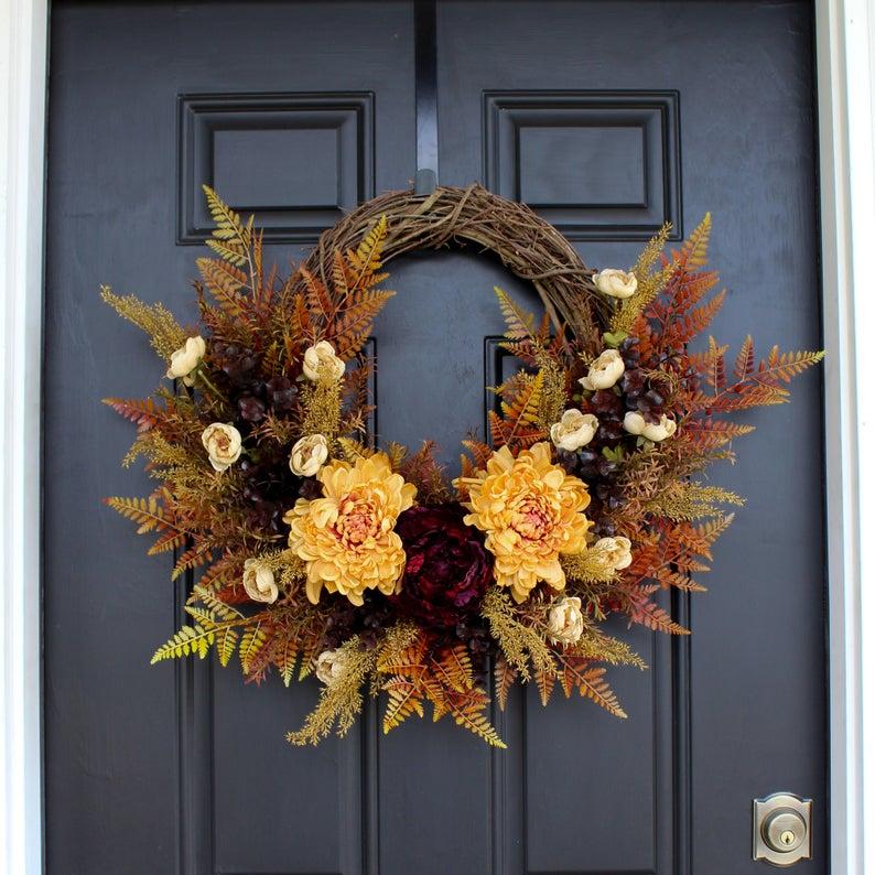 fall wreath, fall wreaths, fall wreaths for front door, fall wreath ideas DIY, fall wreath ideas, autumn wreaths, autumn wreath diy, autumn wreath or front door