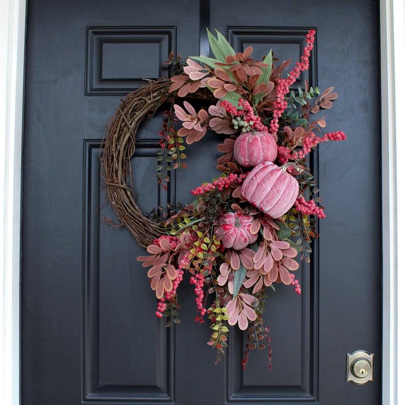 fall wreath, fall wreaths, fall wreaths for front door, fall wreath ideas DIY, fall wreath ideas, autumn wreaths, autumn wreath diy, autumn wreath or front door, pink pumpkin wreath