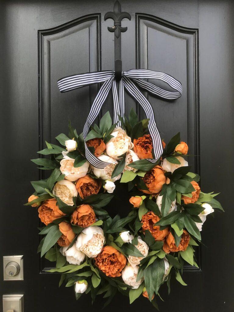 fall wreath, fall wreaths, fall wreaths for front door, fall wreath ideas DIY, fall wreath ideas, autumn wreaths, autumn wreath diy, autumn wreath or front door, fall peonies wreath