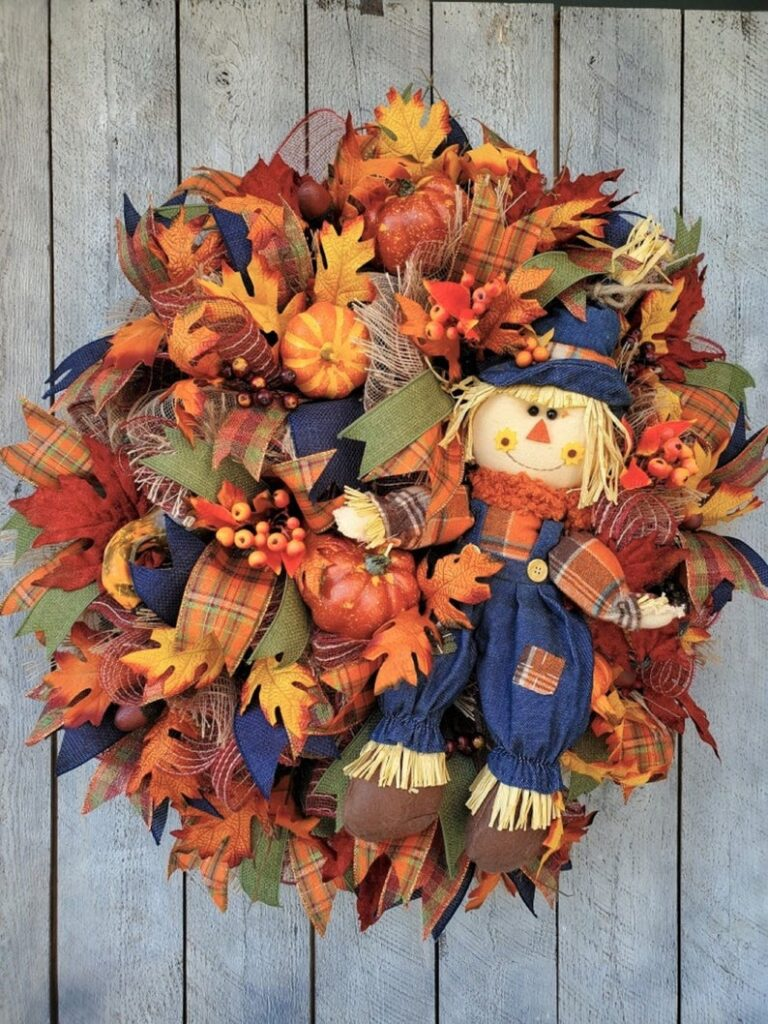 fall wreath, fall wreaths, fall wreaths for front door, fall wreath ideas DIY, fall wreath ideas, autumn wreaths, autumn wreath diy, autumn wreath or front door, scarecrow wreath, fall leaves wreath