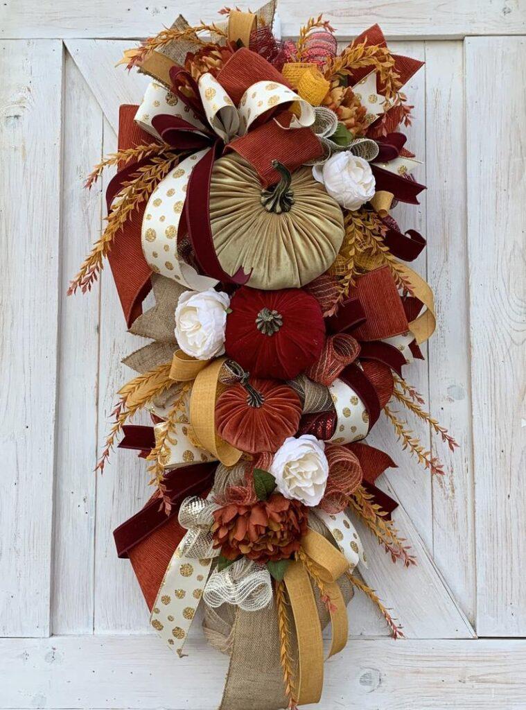 fall wreath, fall wreaths, fall wreaths for front door, fall wreath ideas DIY, fall wreath ideas, autumn wreaths, autumn wreath diy, autumn wreath or front door, velvet pumpkin wreath