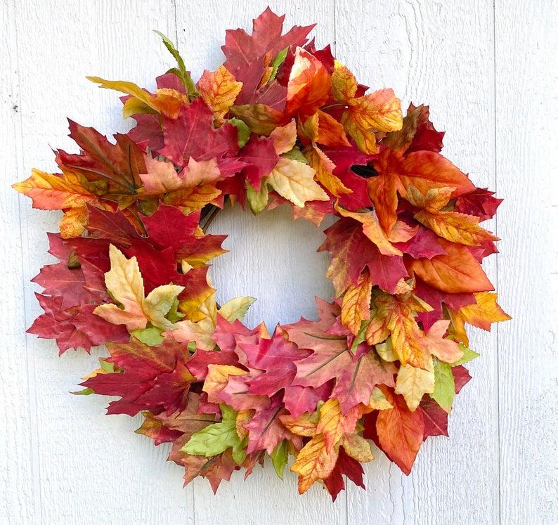 fall wreath, fall wreaths, fall wreaths for front door, fall wreath ideas DIY, fall wreath ideas, autumn wreaths, autumn wreath diy, autumn wreath or front door, fall leaf wreath, fall leaves wreath