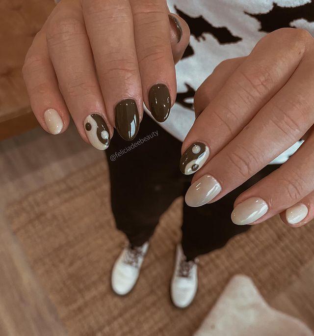 fall nails, fall nail designs, fall nails 2021, fall nail colors, fall nails acrylic, fall nails simple, fall nail art, fall nail ideas, simple fall nails, cute fall nails, indie nails, yin yang nails
