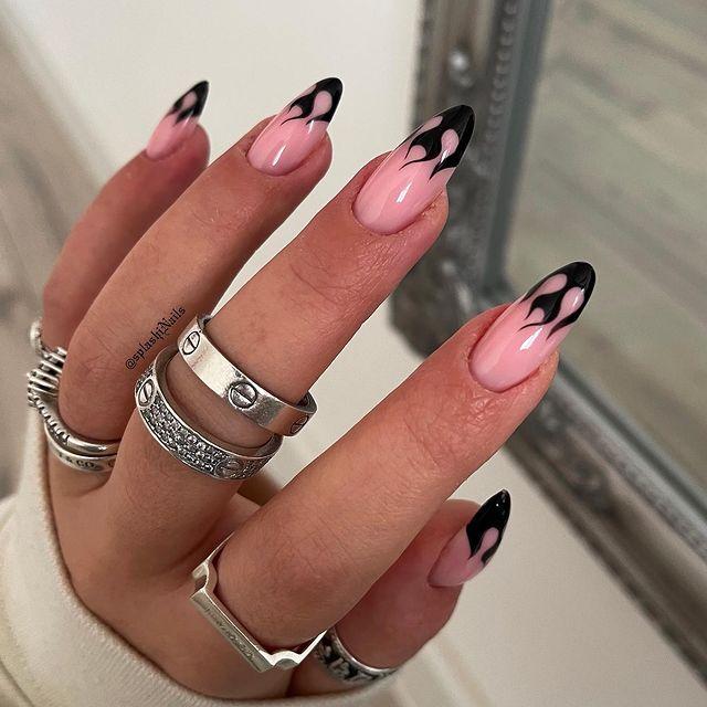 fall nails, fall nail designs, fall nails 2021, fall nail colors, fall nails acrylic, fall nails simple, fall nail art, fall nail ideas, simple fall nails, cute fall nails, flame nails, flame nail art, black flame nails