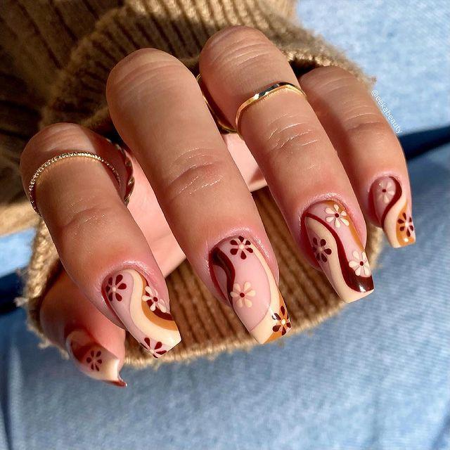 fall nails, fall nail designs, fall nails 2021, fall nail colors, fall nails acrylic, fall nails simple, fall nail art, fall nail ideas, simple fall nails, cute fall nails, retro nails, retro nail art, retro nail ideas