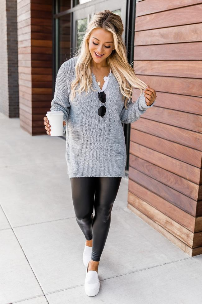 fall outfits, fall outfits women, fall outfits 2021, fall outfit ideas, fall outfits aesthetic, fall outfits fo school, faux leather leggings outfit, legging outfit, waffle knit outfit