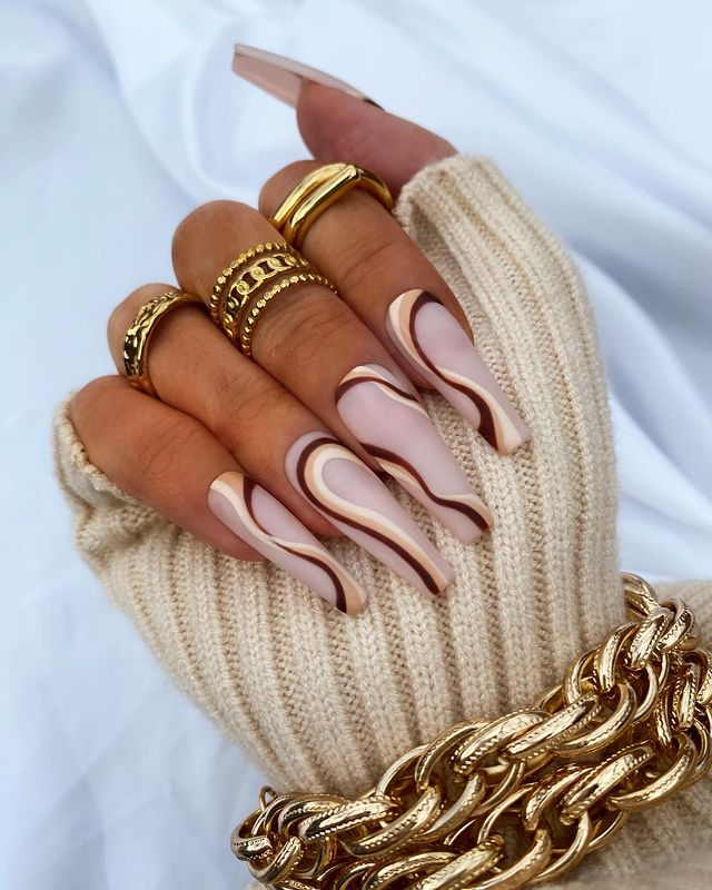 fall nails, fall nail designs, fall nails 2021, fall nail colors, fall nails acrylic, fall nails simple, fall nail art, fall nail ideas, simple fall nails, cute fall nails, neutral nails, swirl nails, swirl nail art, swirl nail ideas
