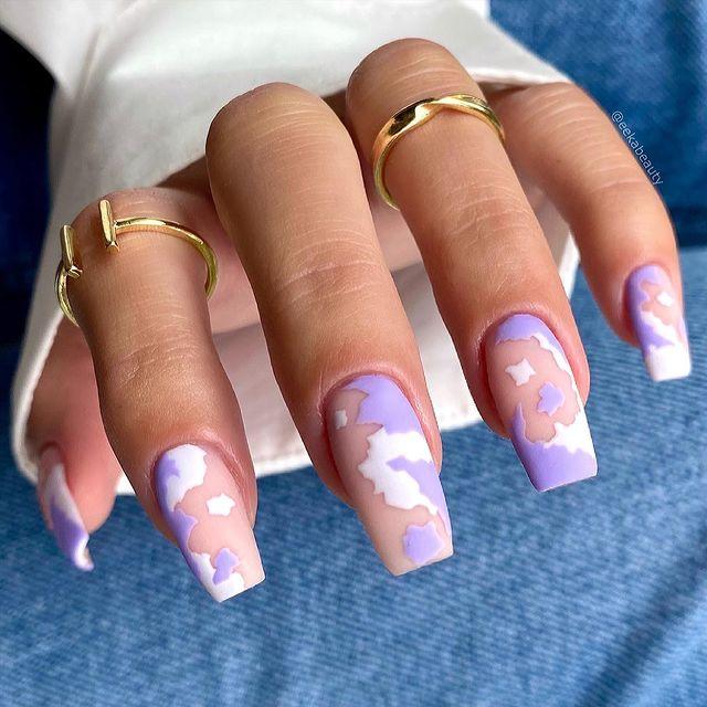 cute nails, cue nails acrylic, cute nails for summer, cute nail designs, cute nail ideas, cute nail art, cow print nails, cow print nail ideas, purple nails, purple nail ideas, purple nail designs