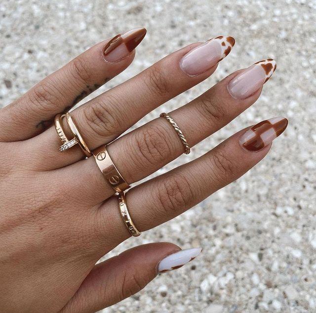 fall nails, fall nail designs, fall nails 2021, fall nail colors, fall nails acrylic, fall nails simple, fall nail art, fall nail ideas, simple fall nails, cute fall nails, indie nails, patterned nails