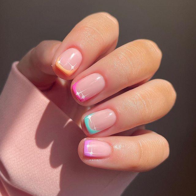 cute nails, cue nails acrylic, cute nails for summer, cute nail designs, cute nail ideas, cute nail art, star nails, star nail ideas, French tip nails, French tip nails with designs