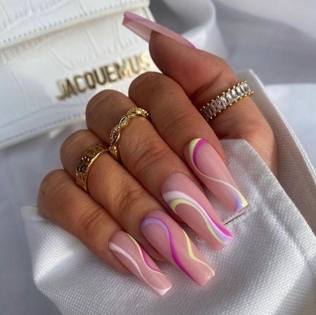 cute nails, cue nails acrylic, cute nails for summer, cute nail designs, cute nail ideas, cute nail art, swirl nails, swirl nail ideas, swirl nail designs