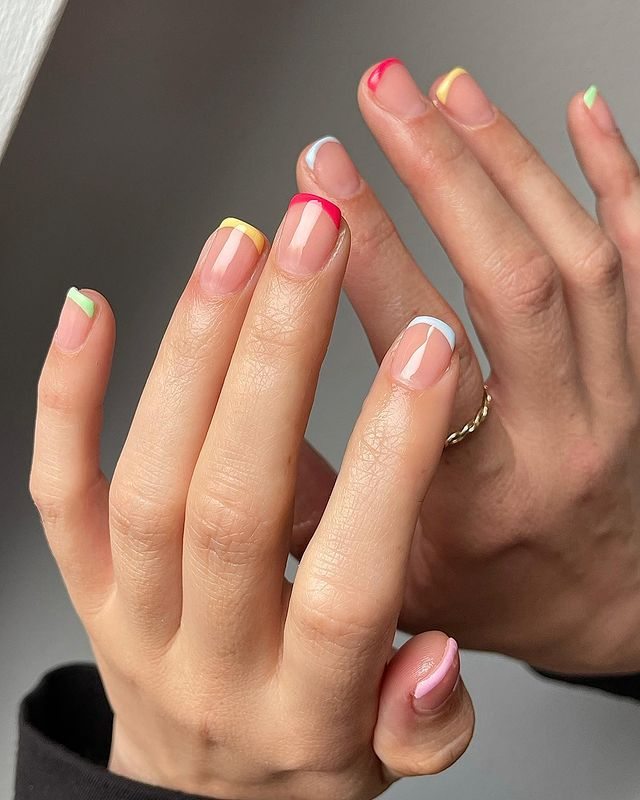 cute nails, cue nails acrylic, cute nails for summer, cute nail designs, cute nail ideas, cute nail art, rainbow nails, rainbow nail art, French tip nails, French tip nail art