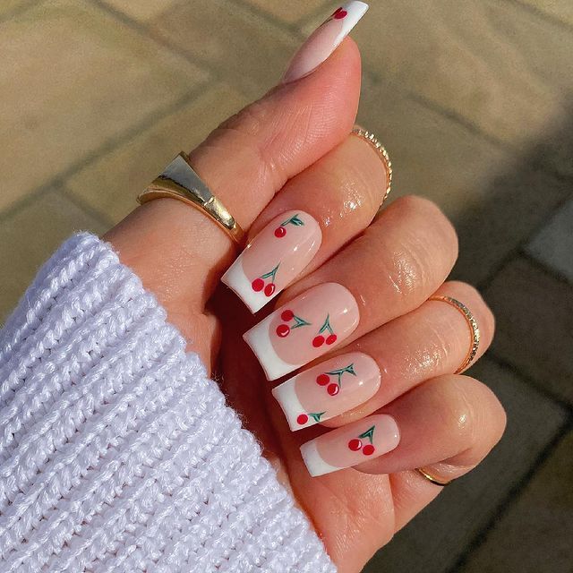 cute nails, cue nails acrylic, cute nails for summer, cute nail designs, cute nail ideas, cute nail art, fruit nails, fruit nail art, cherry nails