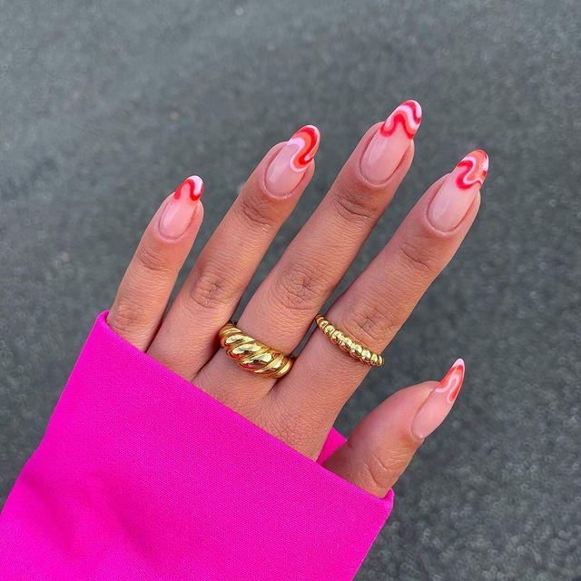 cute nails, cue nails acrylic, cute nails for summer, cute nail designs, cute nail ideas, cute nail art, swirl nails, swirl nail art, swirl nail ideas, red nails, pink nails