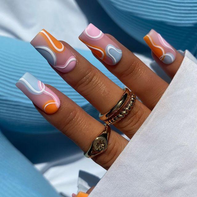 cute nails, cue nails acrylic, cute nails for summer, cute nail designs, cute nail ideas, cute nail art, swirl nails, abstract nails, abstract nail ideas
