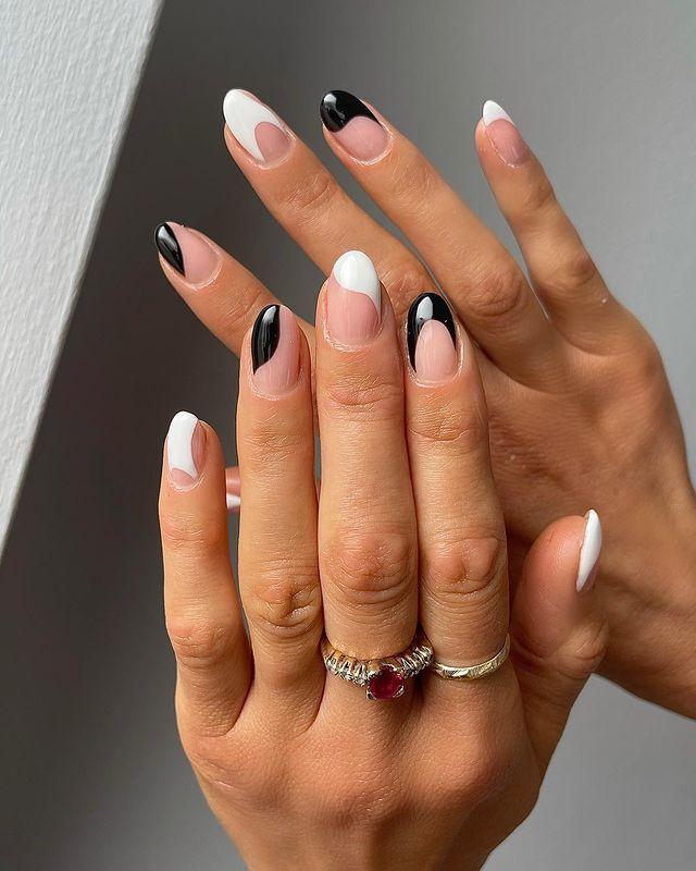 cute nails, cue nails acrylic, cute nails for summer, cute nail designs, cute nail ideas, cute nail art, white nails, black nails, abstract nails, French tip nails