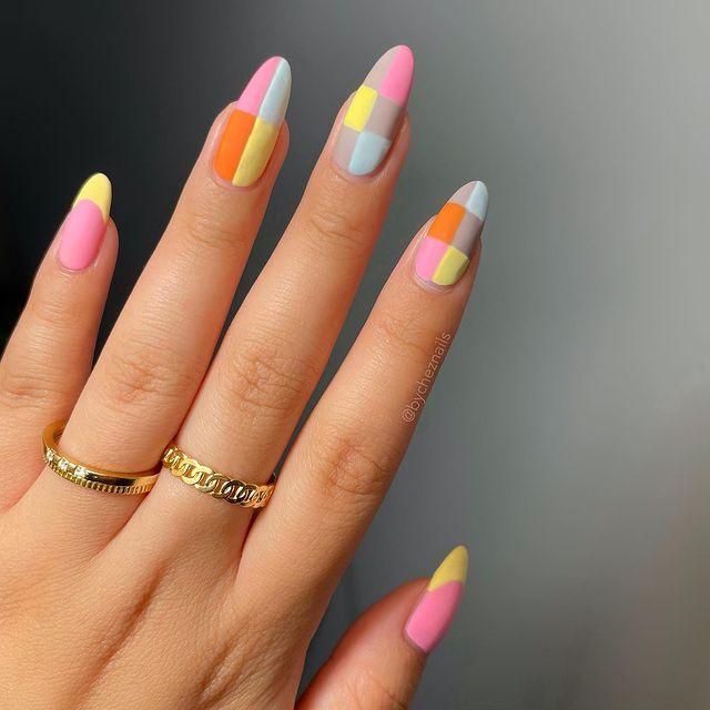 cute nails, cue nails acrylic, cute nails for summer, cute nail designs, cute nail ideas, cute nail art, retro nails, indie nails, bright nails, rainbow nails