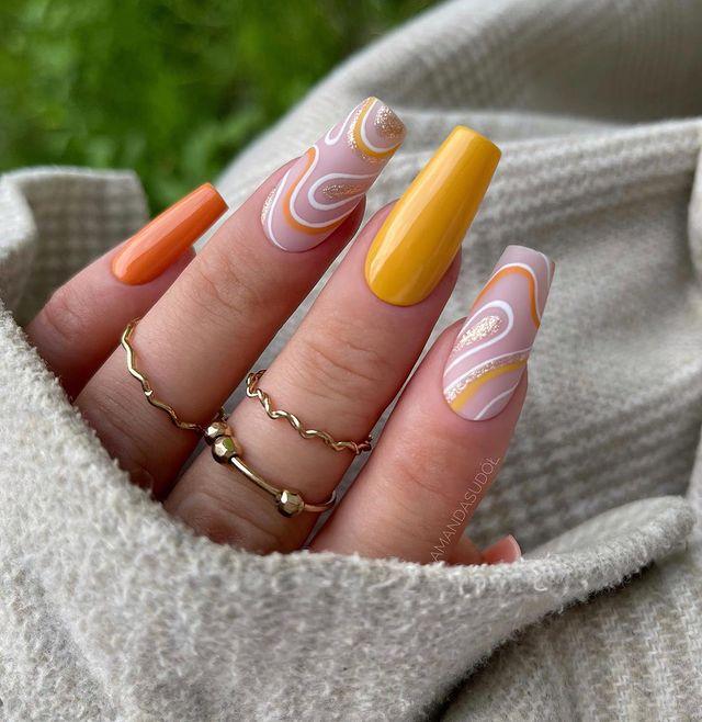 fall nails, fall nail designs, fall nails 2021, fall nail colors, fall nails acrylic, fall nails simple, fall nail art, fall nail ideas, simple fall nails, cute fall nails, orange nails, swirl nails, swirl nail art, swirl nail designs